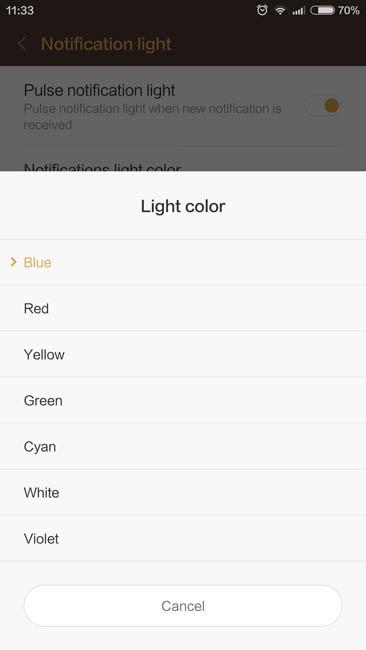Выбор цвета индикатора уведомлений