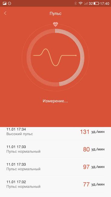 Измерение пульса при помощи фитнес-трекера Xiaomi Mi Band 1S