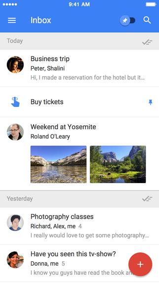 Почтовое приложение Inbox от Gmail для iOS