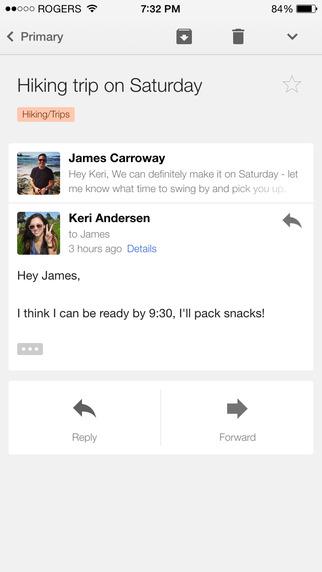 Просмотр сообщений через Google Gmail на iOS