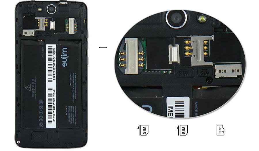 Разъемы для установки SIM-карт в MIJUE T200