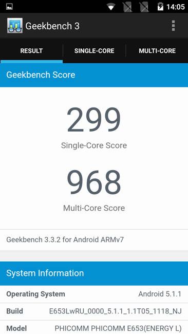 Тестирование Phicomm Energy 653 в тесте Geekbench 3