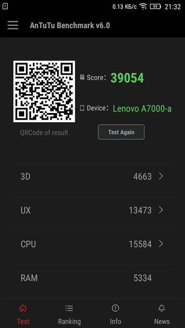 Тест Lenovo A7000 в AnTuTu 6