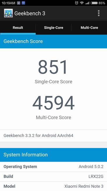 Тест Xiaomi Redmi Note 3 в Geekbench 3
