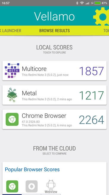 Тест Xiaomi Redmi Note 3 в Vellamo