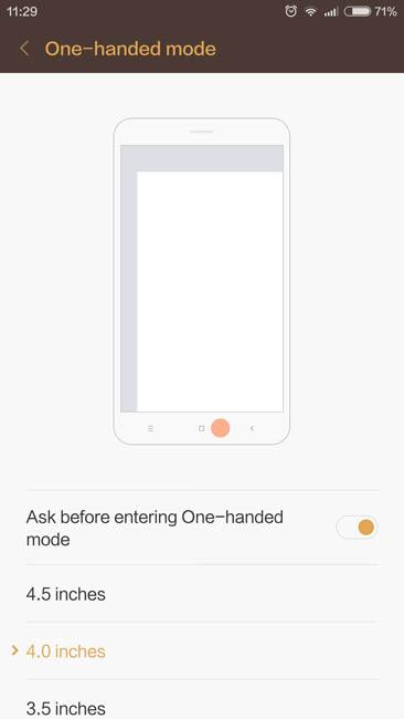 Управление одной рукой Xiaomi Redmi Note 3