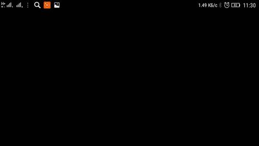 Черный экран открытого приложения