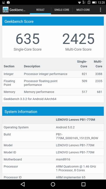 Lenovo Phab Plus в тесте Geekbench 3