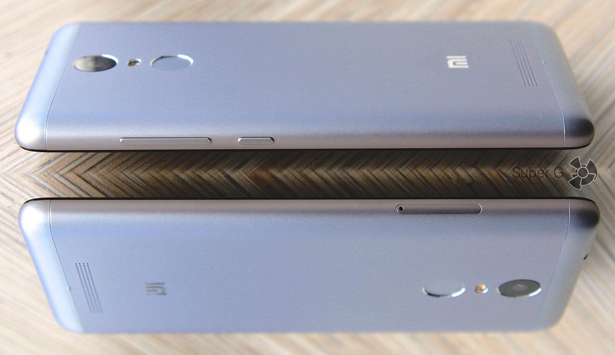 Боковые торцы смартфона Xiaomi Redmi Note 3