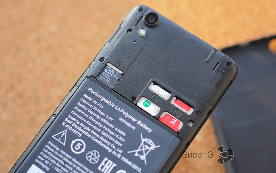 Слоты для SIM-карт и Micro SD card