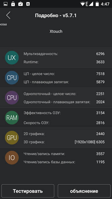 Баллы в тесте AnTuTu 5.7.1 (Bluboo Xtouch)
