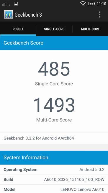 Тест Lenovo A6010 Plus в Geekbench 3