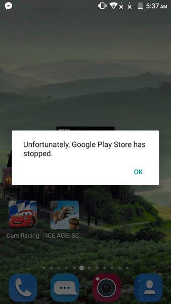 Еще одна ошибка Google Play Store на ZTE Blade V7
