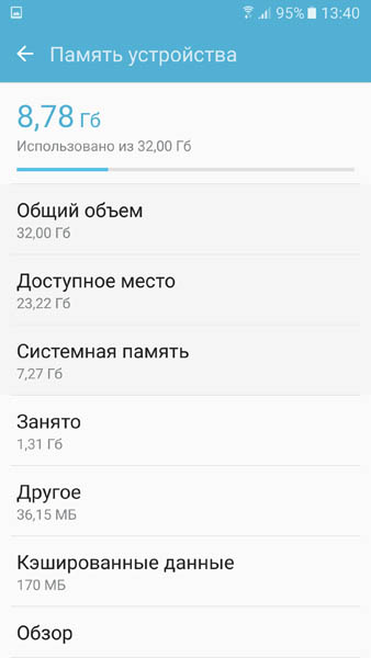 Информация о доступной памяти Samsung Galaxy S7