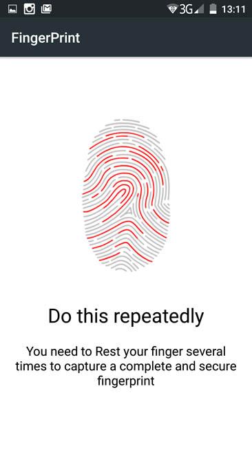 Процесс регистрации отпечатка на Ulefone Be Touch 3