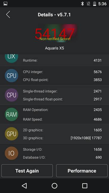 Тестирование BQ Aquaris X5 Plus в тесте AnTuTu 5.7.1