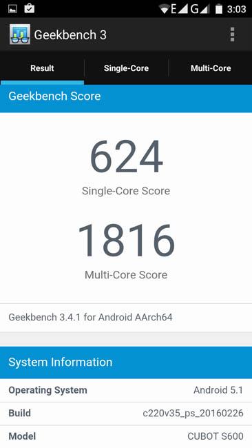 Тестирование Cubot S600 в тесте Geekbench 3