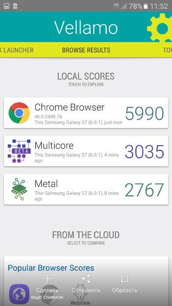 Тестировани Samsung Galaxy S7 в Vellamo