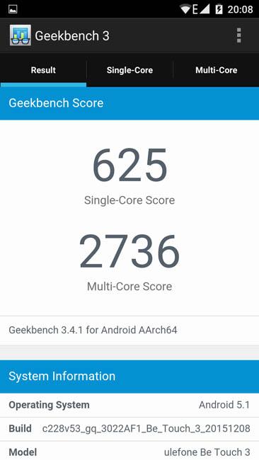 Тест производительности Ulefone Be Touch 3 в тесте Geekbench 3
