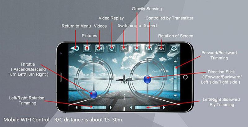 Управление Cheerson CX-10W через приложение в смартфоне