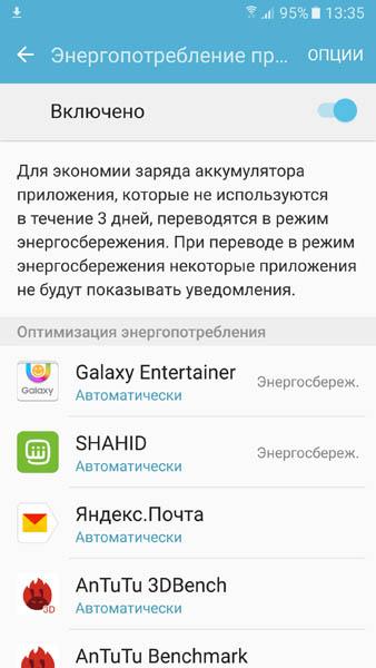 Энергопотребление неиспользующихся приложений на Samsung