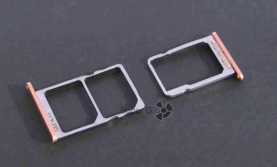 Слот для SIM-карт и карты памяти Micro SD раздельны