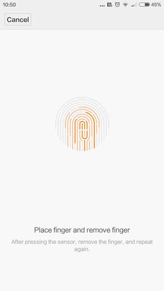 Ввод отпечатка пальца Xiaomi Mi5
