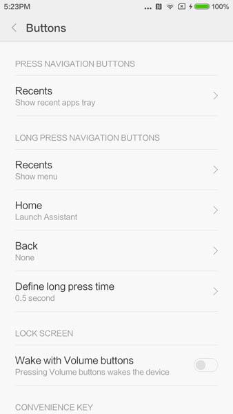 Настройка нажатий на сенсорные кнопки Xiaomi Mi5