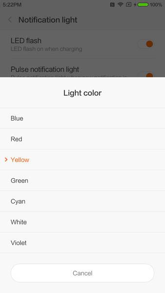 Настройка цветового индикатора на фронтальной панели (выбор цвета)