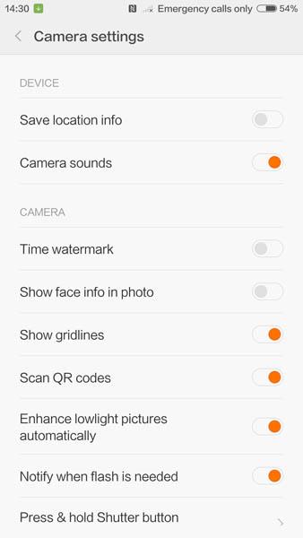 Настройки камеры Xiaomi Mi5