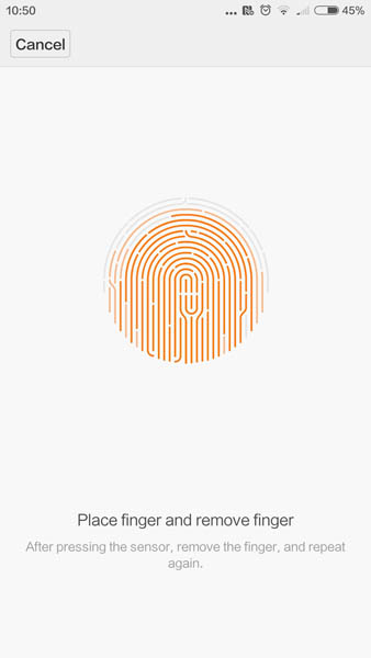Регистрация отпечатка пальца для Xiaomi Mi5