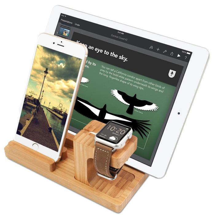 Деревянная подставка под смартфон и часы