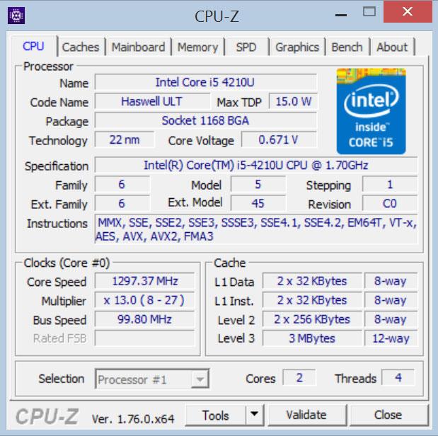 Процессор Dell Alienware 13 по данным CPU-Z