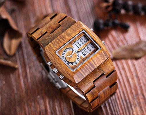 Часы с дисплеем из дерева - Bewell 2539