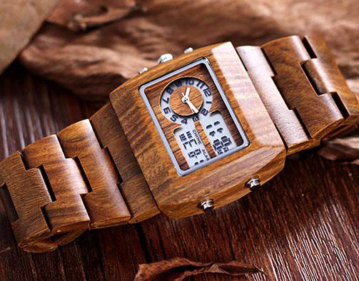 Bewell 2539 - часы из сандалового дерева