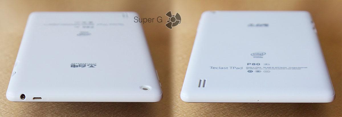 Верхний и нижний торцы таблетки Teclast TPad P80 3G