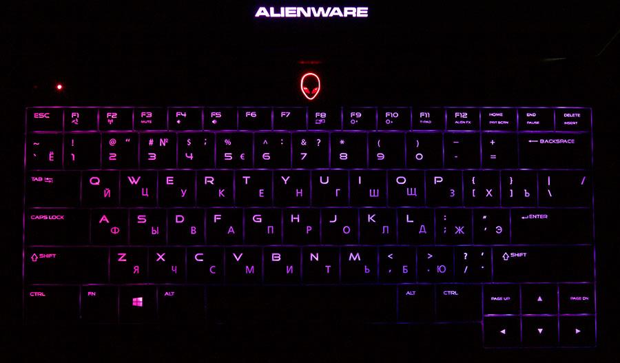 Переливающаяся подсветка клавиатуры в Dell Alienware 13