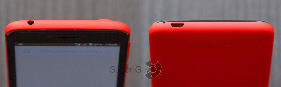 Верхняя и нижняя сторона Боковые стороны смартфона Fly Nimbus 7