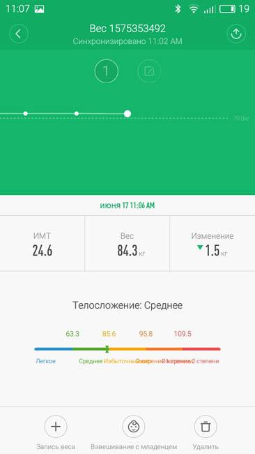 Измерения веса в приложении Mi Fit при помощи умных весов Xiaomi