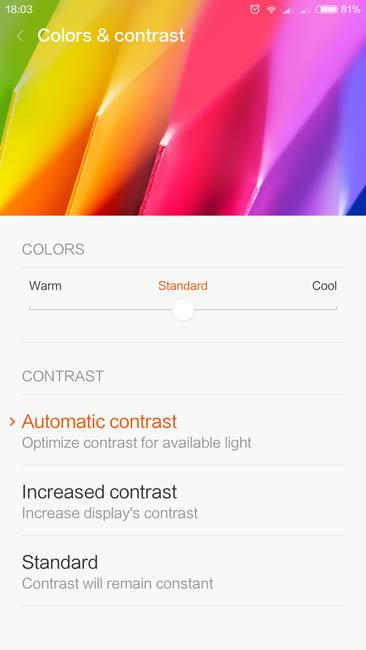 Настройка контрастности и цветовой температуры дисплея Xiaomi Mi Max