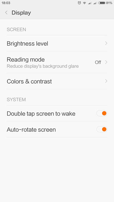 Настройки дисплея Xiaomi Mi Max