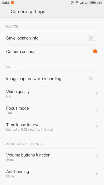Общие настройки видеосъемки Xiaomi Mi Max