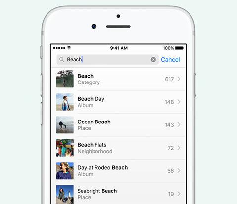 Поиск в Фото iOS 10