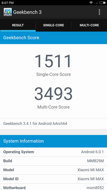 Производительность Xiaomi Mi Max в тесте Geekbench 3
