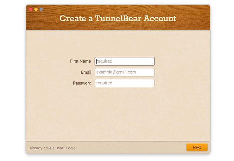Регистрация в TunnelBear