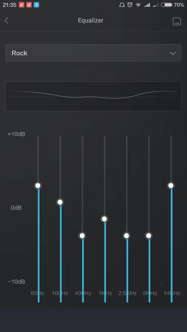 Семиполосный эквалайзер в стандартном плеере MIUI 7.3