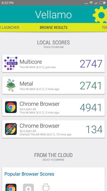 Тестирование производительности Xiaomi Mi Max в тесте Vellamo