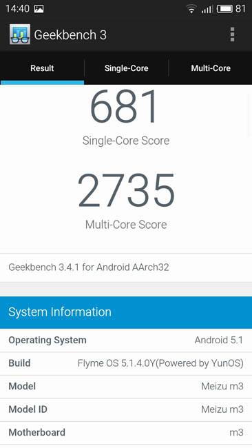 Тест Meizu M3 mini в Geekbench 3
