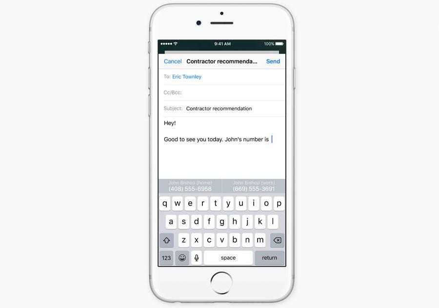 Умные подсказки для ввода в iOS 10