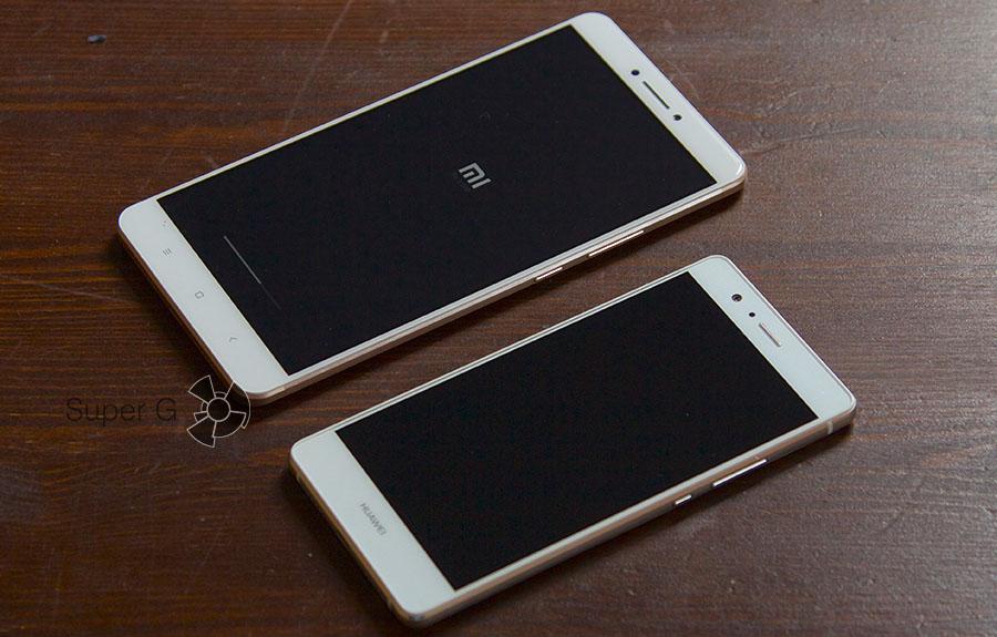 Сравнение габаритов Xiaomi Mi Max и Huawei P9 Lite